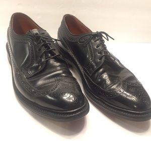 9.5 vintage longboat wingtip brogues black leather